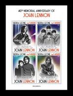 Sierra Leone 2020 Mih. 12773/76 Music. Singer John Lennon MNH ** - Sierra Leone (1961-...)