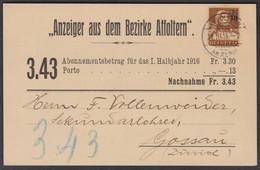 ZH   AFFOLTER AM ALBIS - GOSSAU  /  NR. 134 FRÜHE VERWENDUNG ! - Covers & Documents