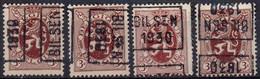 N° 5674A/B/C/D - BILSEN 1930 - Roller Precancels 1930-..