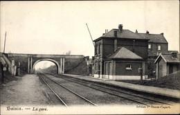 CPA Hainin Hensies Wallonien Hennegau, La Gare, Bahnhof, Gleisseite - Autres