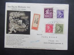 3.Reich Böhmen Und Mähren Sammlerbeleg Einschreiben Iglau 1 Tag Der Briefmarke 1943 Blauer Stempel L1 über Iglau - Briefe U. Dokumente