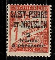SAINT PIERRE & MIQUELON T19* 2f Sur 1f Vermillion Timbre Taxe - Strafport