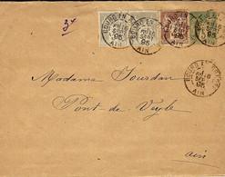 1895- Enveloppe E P 5c Sage + Complément Petites Valeurs De Bourg En Bresse / Ain - 1877-1920: Semi-moderne Periode