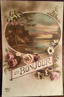 """Cpa De 1918, Fantaisie, """"Un Bonjour""""  Paysage Bord De Lac Dans Médaillon Orné De Fleurs,édition ZED Albert NOYER - Andere"""