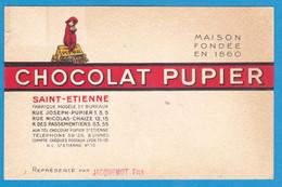 Carte Publicité / Chocolat Pupier /Saint Etienne / 1938 - Werbung