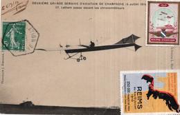 CPA  DEUXIEME GRANDE SEMAINE D'AVIATION DE CHAMPAGNE (4 JUILLET 1910)-LATHAM PASSE DEVANT LES CHRONOMETREURS-2 VIGNETTES - Fliegertreffen