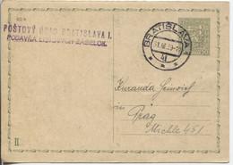 Slowakei Vorläufer CSR-Ganzsache CDV 66 II Antwort  Bratislava Postamt1 31.3.39 > Prag - Storia Postale
