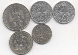 LOT PIECES  NOUVELLE CALEDONIE  50 FRANCS 1967 + 20 FRANCS 1991 + 10 FRANCS 1972  +  2 FRANCS 1989 +1990 - New Caledonia