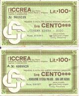 MINIASSEGNI - ICCREA Cinema Edera Godo - Associazione Turistica Pro-loco Isola Capo Rizzuto  £.100x2 - [10] Cheques Y Mini-cheques