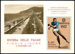 SKATING - ITALIA FINALE LIGURE 1957 - TROFEO ENAL - GARA NAZIONALE PATTINAGGIO - CARTOLINA UFFICIALE - Autres