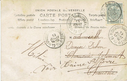 Rare Trois Cachets à étoiles Chaussée Notre Dame Louvignies Sur CP De Soignies Vers Jolimont Haine-St-Pierre (13/7/1910) - Sternenstempel