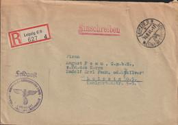 Registered German Feldpost WW2: Kommando Des Rüstungsbereichs Leipzig To A Co. In Leipzig  Posted Leipzig C9 - Militaria