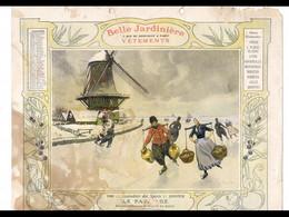 CAL033  .LA  BELLE JARDINIERE ..PATINAGE  HOLLANDE .CALENDRIER  ALMANACH  1906  Signé  Georges  SCOTT¨. - Big : ...-1900