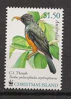 Christmas Islands - 2002 - N°Yv. 504 - Oiseau / Bird / Thrush / WWF - Neuf Luxe ** / MNH / Postfrisch - Christmas Island