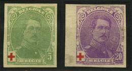 België 129 (*) + 131 * - Koning Albert I - Rode Kruis - Roi Albert I - Croix-Rouge - Ongetand - Imperforates