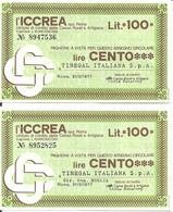 MINIASSEGNI - ICCREA Tinegal Italiana - Tinegal Italiana Dir. Gen. Moglia  £.100x2 - [10] Cheques Y Mini-cheques