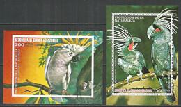 Equatorial Guinea 1974 Year , Used 2 Blocks Parrots Birds - Guinea Ecuatorial