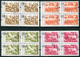 BULGARIA 2002 Kushlev Woodcuts With Security Perforation Used Blocks Of 4.  Michel 4571-74 CS X - Gebraucht