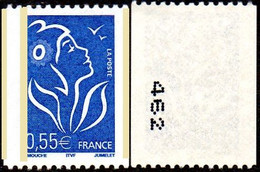 France Marianne De Lamouche N° 3807 A ** Variété De La Roulette Du 0.55 Bleu, Trois Bandes Phosphore, N° Noir à Gauche - 2004-08 Marianne De Lamouche