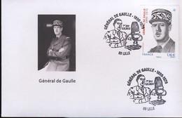 France FDC 2020 Charles De Gaulle Lille Sur Env Carte De Visite - De Gaulle (Generaal)