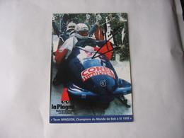 Bobsleigh - Autographe - Carte Signée Bruno Mingeon - Sport Invernali