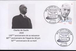 France  2020 Charles De Gaulle Paris 2020 Année De Gaulle Triple Anniversaires Sur Env Carte De Visite - De Gaulle (Generaal)