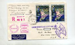 Lettre Recommandée Annecy Sur Toulouse Lautrec Vol Paris  New York Air France  Reporté - Vliegtuigen