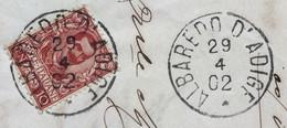 ALBOREDO D'ADIGE *29/4/02  Su 10 C.  Floreale Su  BELLA LETTERA COMPLETA DEL COMUNE - Versichert