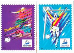 Football, Coupe Du Monde France 98 - Collection Complète Des 10 Stades - Illustration Briat, Cartes Entier Postal - Soccer