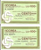MINIASSEGNI - ICCREA El-Re Elettronica Reggiana Guastalla - Cinema Splendor Bologna  £.100x2 - [10] Cheques Y Mini-cheques