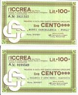 MINIASSEGNI - ICCREA Monti Cancelleria Forlì - Galleria D'arte Negri Guastalla  £.100x2 - [10] Cheques Y Mini-cheques