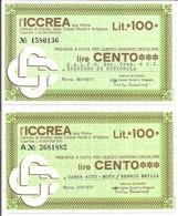 MINIASSEGNI - ICCREA Calpo Soc. Coop. Barbiano Di Cotignola - Camer Auto Moto Reggio Emilia  £.100x2 - [10] Cheques Y Mini-cheques