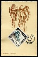 MONACO - CARTE MAXIMUM 1953 - SPORT - CYCLISME - Timbre Jeux Olympiques D'été D'HELSINKI De 1952 - Cartoline Maximum