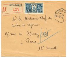 SEINE ET MARNE ENV 1931 RAU MELUN A RECOMMANDEE OUVERTURE AUX SCISEAUX A DROITE - 1921-1960: Modern Period
