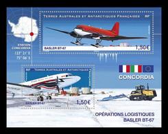 TAAF 2021 Mih. 1128/29 (Bl.90) Aviation. Basler BT-67 Aircrafts MNH ** - Ongebruikt