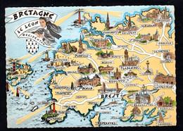 """Carte Géographique """"BRETAGNE, Léon Occidental"""" Brignogan, Guisseny, St-Frégant, Folgoët, Gouesnou, St-Renan, Portzic - Maps"""