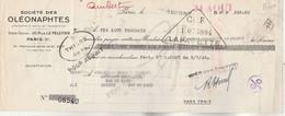 Lettre Change 8/8/1935 Société Des Oléonaphtes Rue Le Peletier PARIS Cachet Fiscal EMA Enregistrement - Bills Of Exchange