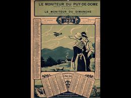 CAL034  . MONITEUR   PUY DE DOME  .AVION AUVERGNATS  LITHOGRAPHIE  MONT LOUS .CALENDRIER  ALMANACH  1923 .¨. - Big : ...-1900