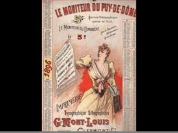 CAL039  .1896  MONITEUR   PUY DE DOME .MARCHANDE De Journaux    LITHO.  MONT LOUS .CALENDRIER   ALMANACH  . .¨. - Big : ...-1900