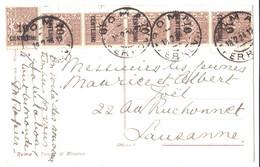 Italie - 1924 - YT129 - Bande De 5  + 1 - Sur Carte Postale - Afgestempeld