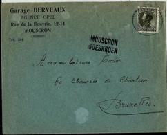 Enveloppe (entière) Obl.  BXL  + Griffe De MOUSCRON - MOESKROEN - Sello Lineal