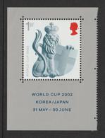 GREAT BRITAIN 2002 Football World Cup Championship: Single Stamp (ex Miniature Sheet) UM/MNH - Ungebraucht