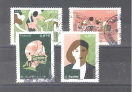 """France Oblitérés : Les 4 Timbres Du Bloc """"la Terre Et Les Hommes"""" (cachet Rond) - Used Stamps"""