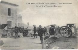 84 - LE MONT VENTOUX Courses D'automobiles Un Coin De La Terrasse De L'Observatoire Animée écrite Timbrée - Other Municipalities