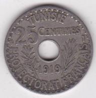 Protectorat Français 25 Centimes 1919 , Bronze Nickel - Tunisia