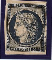 20 C Noir Sur Jaune N° 3 B. - 1849-1850 Ceres