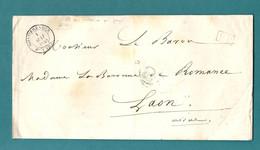 Faire Part De MONTIENDER Pour La Baronne De Romance En Port Payé, Faute De TIMBRE. Pas Courant - 1849-1876: Classic Period