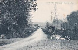 CHAMPVALLON ROUTE DE LA GARE ,PERSONNAGE ,EDITION CATHELIN TABAC REF 69170 - Andere Gemeenten