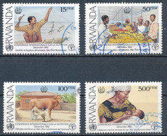 °°° RWANDA - Y&T N°1316A/D - 1992 °°° - 1990-99: Oblitérés