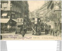PARIS IX. Autobus à Impériale Et Fiacres Faubourg Montmartre. Juste écrite Au Recto... - Arrondissement: 09